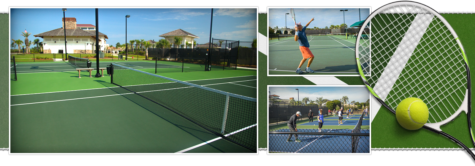 Lighted Tennis and Basketball Courts at Compass Pointe, Leland, NC