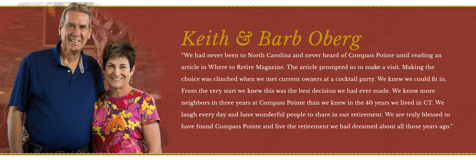 Keith and Barb Oberg Testimonial